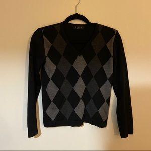 Elle black Argyle sweater